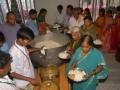 Serving food at Rajahmundry Ashram to volunteers and members on 21 Jul 2015, 8th day of Godavari Pushkaralu