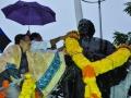 Sri.Thota Narsimham,M.P.(Kakinda) garlanding statue of Kavisekhara Dr.Umar Alisha (6th head of peetham)