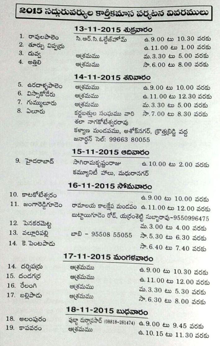 Karthika masam 2015 Tour details page1
