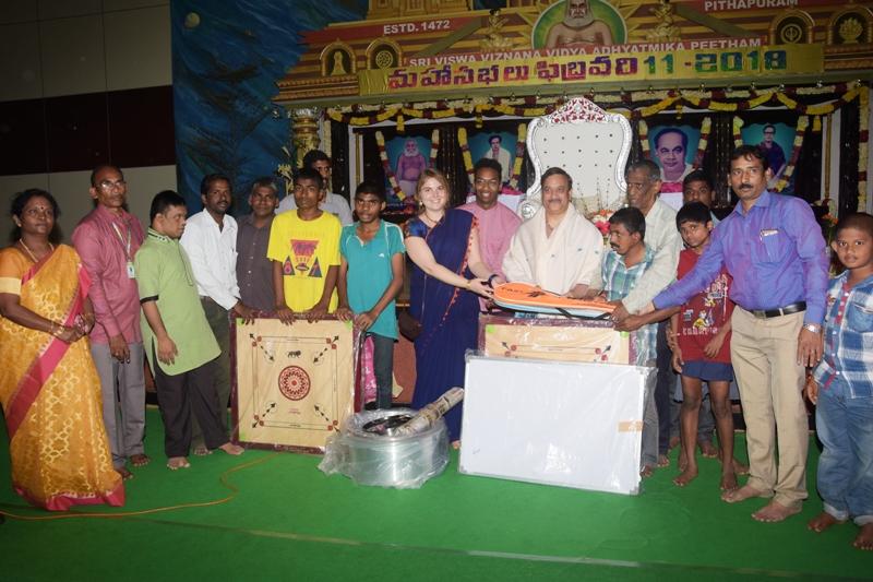 Presenting Playing kits to Uma Mano Vikasa Kendram by Sadguru